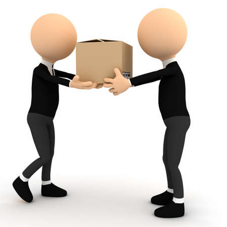 delivering: 3d person with carton package. computer generated image