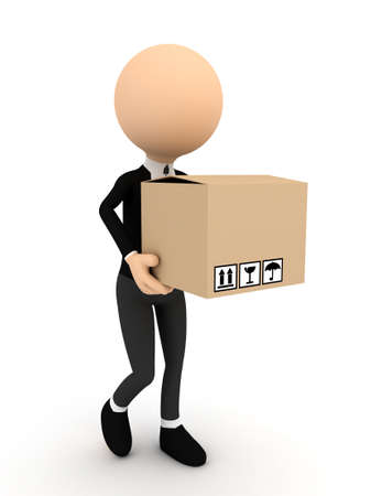 man carrying box: 3d person with carton package. computer generated image