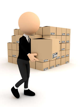 carrying box: 3d person with carton package. computer generated image