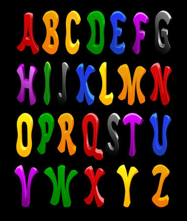 Cartoon vector font, full alphabet. For your design Vector