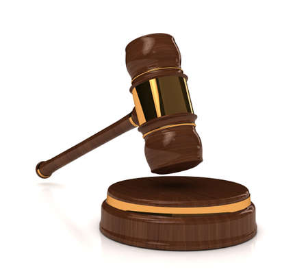 Rendered 3d wooden gavel on white. computer generated image photo