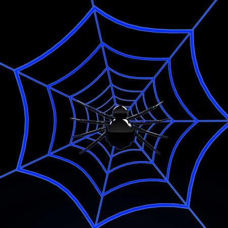 spiders web: Black spider on blue web  3d internet concept