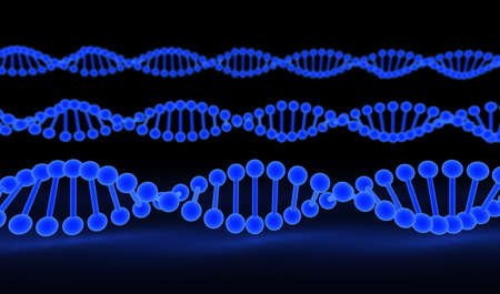 researches: DNA Strands over black background  computer generated image Stock Photo