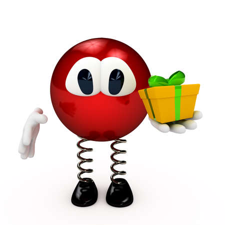 congratulating: Cartoon character with present box  3d computer gererated image