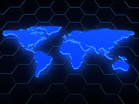 geographical locations: 3d blue glowing map over black  computer generated image
