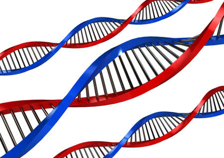 researches: DNA Strands over white background  computer generated image Stock Photo