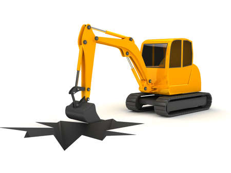 3d orange digger working on white background  computer generated Stock Photo - 12899407
