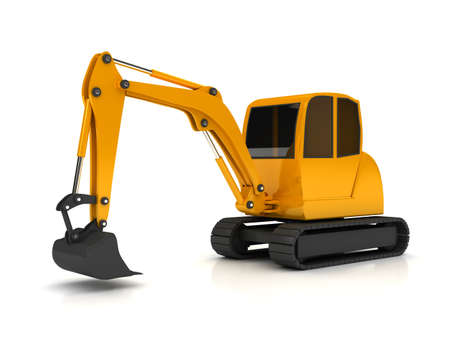 3d orange digger working on white background  computer generated photo