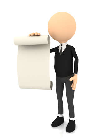 3d person with blank page  computer generated image Stock Photo - 13233342