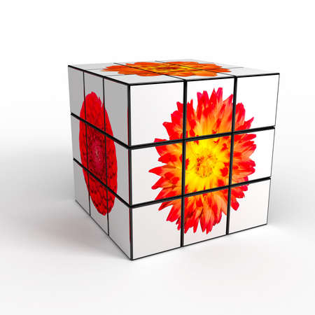 3d cube with photo over white background photo