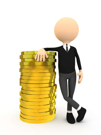 3d person with gold coins over white background