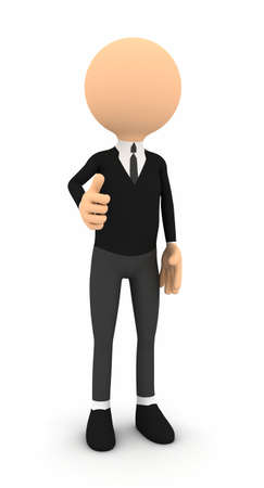 3d businessman showing thumbs on white background Stock Photo - 13682461