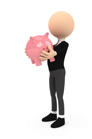 3d person with piggy bank on white background photo
