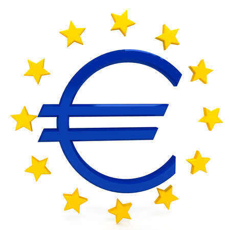 european union currency: Euro sign over white background