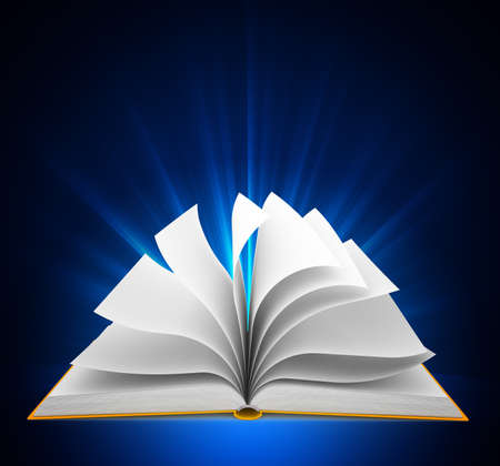 Open book over blue background Stock Photo - 13912219