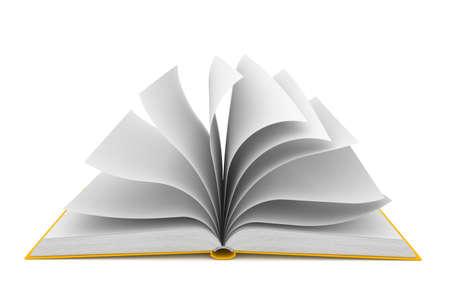 白い背景の上に開いた本