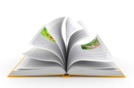 Open book over white background photo