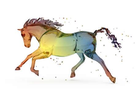realism: Rainbow water running horse over white Stock Photo
