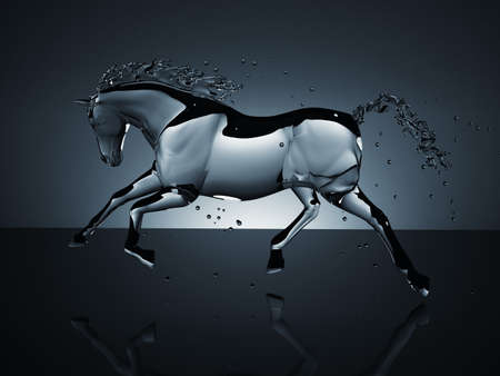 water running horse over white photo