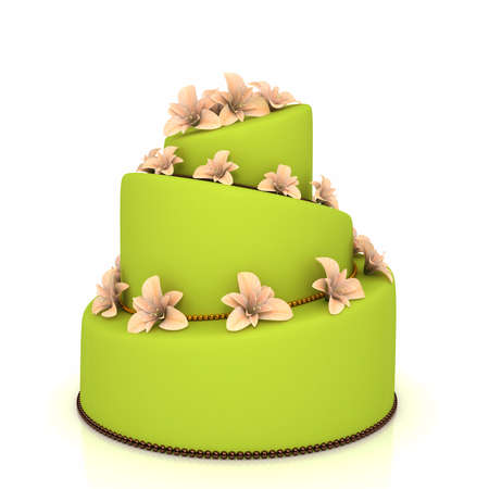 Weddind cake with flowers over white photo