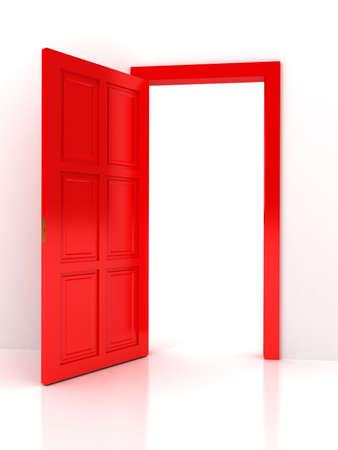 abriendo puerta: Puerta roja sobre fondo blanco Foto de archivo