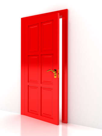 Red door over white background photo