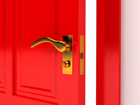 digitally generated image: Red door over white background Stock Photo