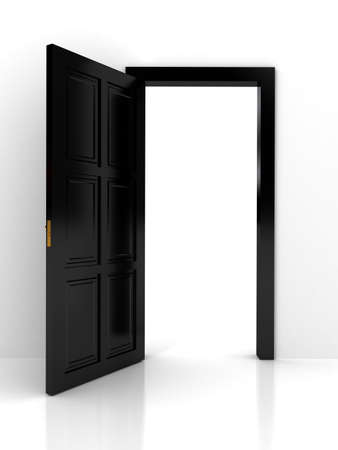 three dimensional accessibility: Black door over white background