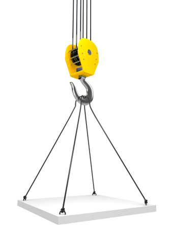 heavy lifting: Industrial hook hanging on a chain Stock Photo