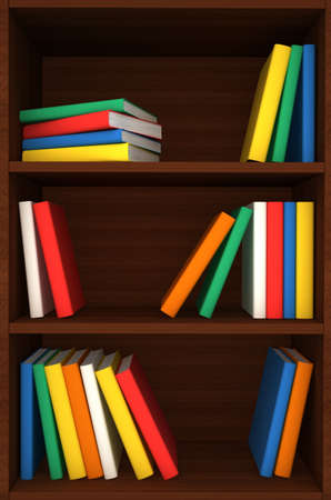 3d wooden shelves background with books. computer generated photo