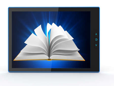 E-book reader  Books and tablet pc  3d photo