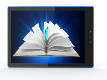 e book: E-book reader  Books and tablet pc  3d Stock Photo
