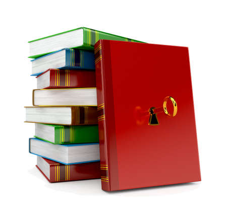 book with key in lock on white background Stock Photo - 14766060