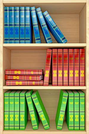 3d wooden shelves background with books Standard-Bild
