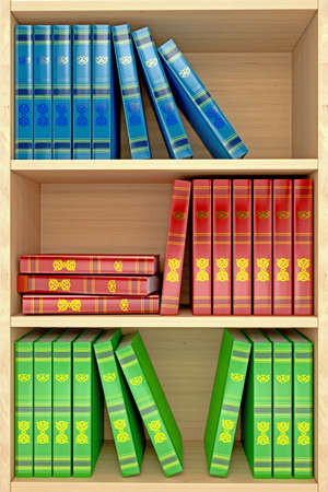 3d wooden shelves background with books Stock Photo