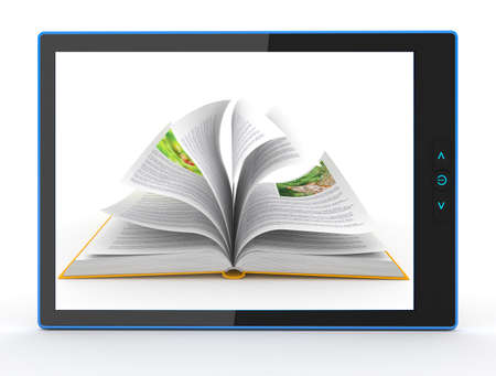 ebook reader: E-book reader  Books and tablet pc  3d Stock Photo