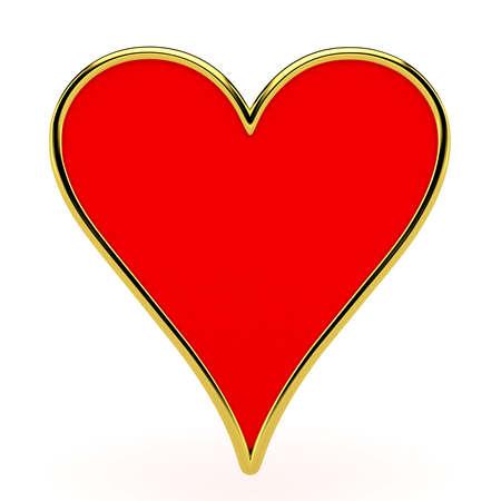 Trajes de los corazones de la tarjeta con enmarcar de oro aislada Foto de archivo