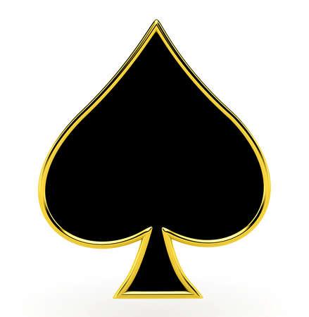 黄金のフレーミングとスペード カードをスーツします。