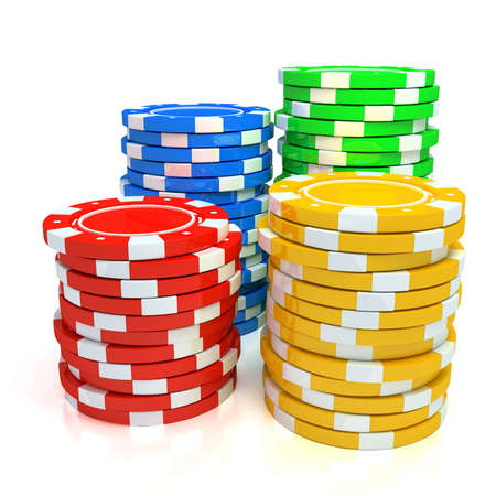 poker chip: Simple Colored Casino chips Stock Photo