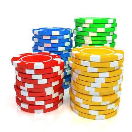fichas de casino: Simples fichas del Casino de colores Foto de archivo