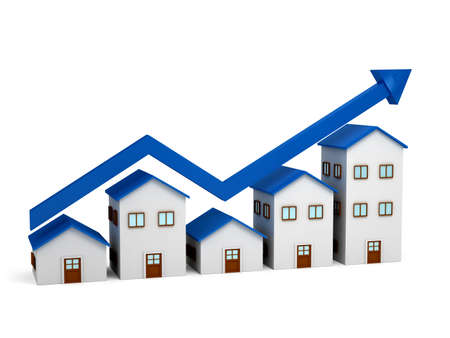 Growing chart over houses 3d Stock Photo
