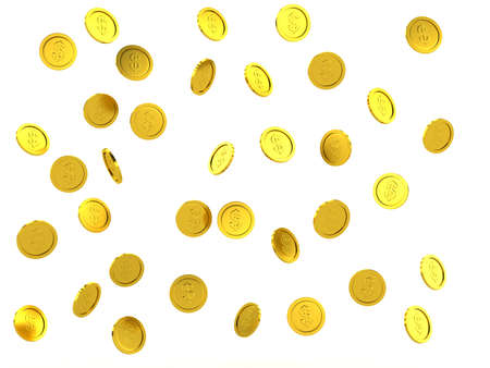 Gold coin: 3d rendered failing golden coins