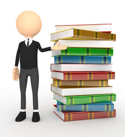 Color 3d person with  books photo