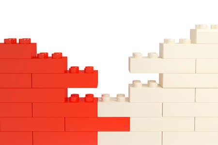 壁の色のプラスチック製のブロックから