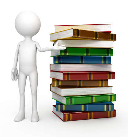 White 3d person with  books photo