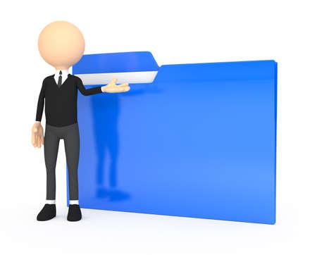 3d people - human character with folder  Standard-Bild