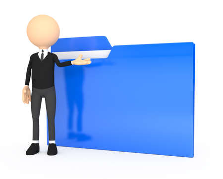3d people - human character with folder Stock Photo - 15628583