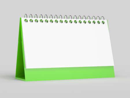 organizer page: 3d render of blank calendar on grey background