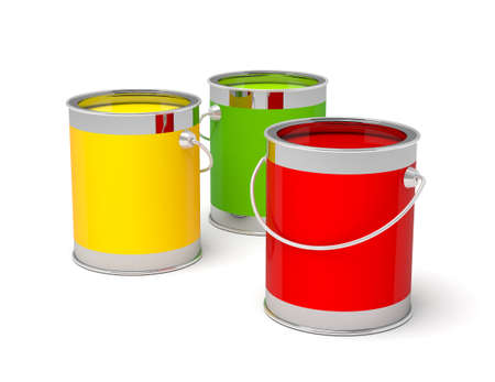 paint tin: Colorful paint cans on white