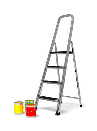 metal stairs stepladder and paint photo